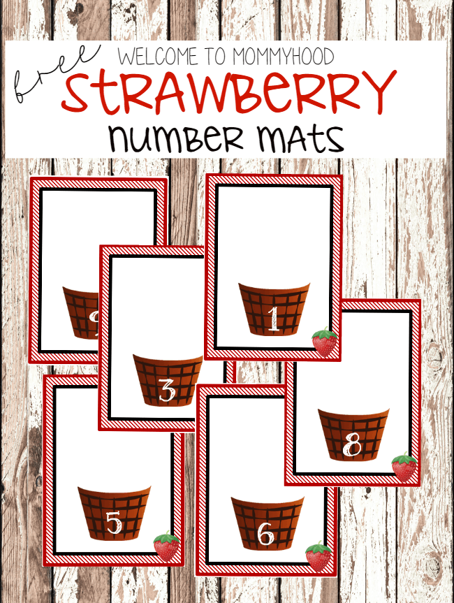 Strawberry number cards finger painting activity